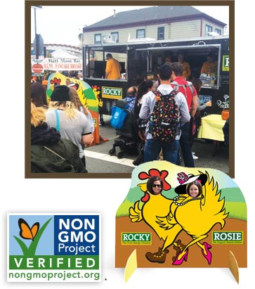 Support your local chicken! Rocky and Rosie Chicken are Non-GMO Project Verified.