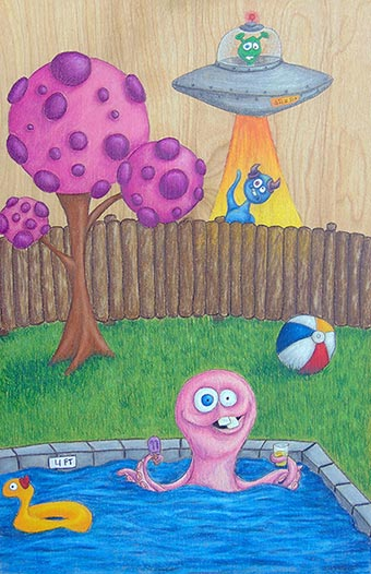 "Katie Call colored pencil on wood ""Pool Party"""