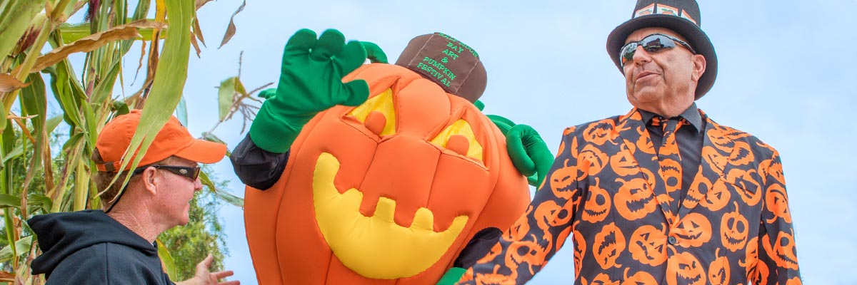 Gourdy, the official Pumpkin Festival mascot