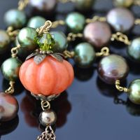 Melissa Huntsman freshwater pearls & orange jade pumpkin charm