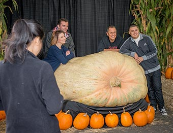 photos with the giant pumpkin