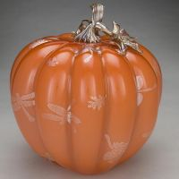 Treg and Candace Silkwood glass apricot pumpkin with silver dragonflies